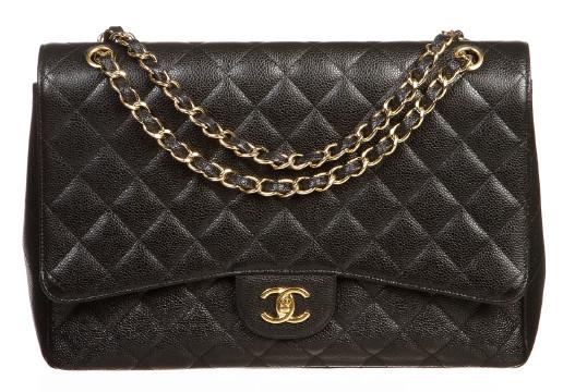 Chanel | Chanel Black Caviar Classic 2.55 Maxi GHW Handbag