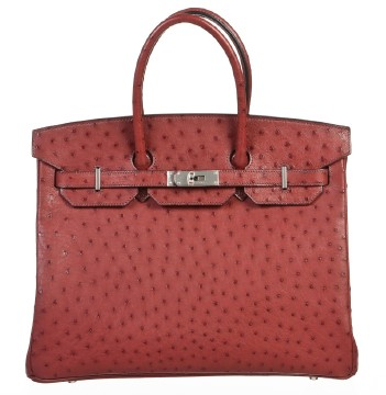Hermès | Hermes Rouge H (Red) Ostrich Leather 35cm Birkin Handbag SHW NEW