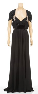 Gucci | Gucci Black Cap Sleeve Belted Beaded Evening Gown (size 44)
