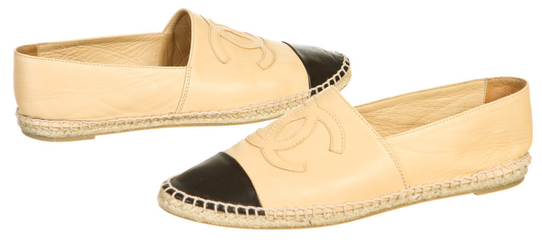Chanel | Chanel Tan Leather Black Cap Toe CC Espadrille Loafers (Size 40)