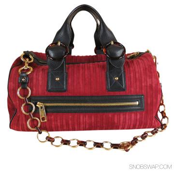 Marc Jacobs | Marc Jacobs Burgundy Suede Carry On Handbag (Item No. 39238)