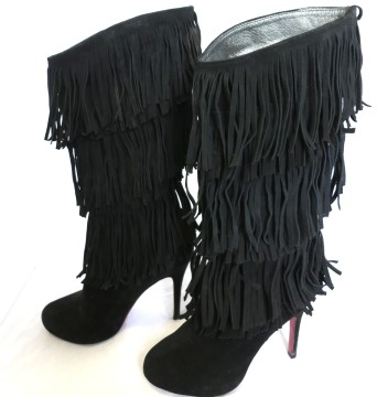 Christian Louboutin | Christian Louboutin Black Fringed Suede Knee High Boots