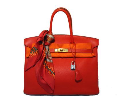 Hermès | Hermes Rouge Vif 35cm Clemence Birkin Bag