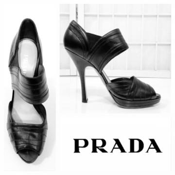 Prada | Prada $650 black leather wide strap peep-toe sandals~10/US