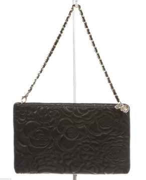 Chanel | Chanel Black Leather Camellia Embossed Clutch Handbag