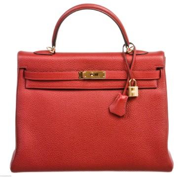 Hermès | Hermes Kelly Retourne 35cm Rouge H Clemence Handbag GHW NEW