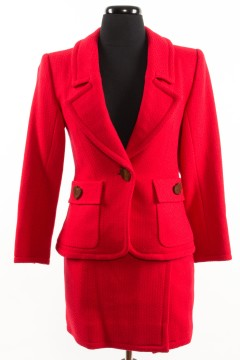 Yves Saint Laurent | YVES SAINT LAURENT Red Wool Herringbone Skirt Suit