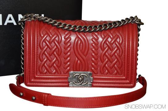 Chanel |  100% AUTH EUC CHANEL MEDIUM RED CELTIC LE BOY LAMB SHW 13A SOLDOUT