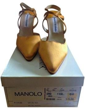 Manolo Blahnik | MANOLO BLAHNIK GOLD SATIN...