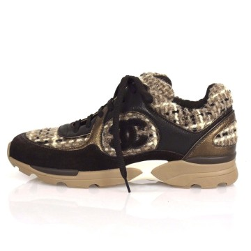 Chanel | Chanel Tweed Leather Suede 2015 Cc Logo Fashion Sneakers Brown Athletic Shoes