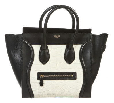 Céline | Celine Black Leather And White Crocodile Medium Luggage Tote Handbag