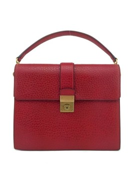 Prada | Prada Red Leather Berlino Sound Medium Flap Satchel Bag New