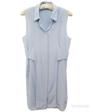 Alexander Wang | Alexander Wang $555 baby blue deconstructed silk shirtdress/shirt dress~L