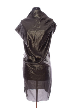 Lanvin | Dark Green Shimmer Dress with Ruffle Detail