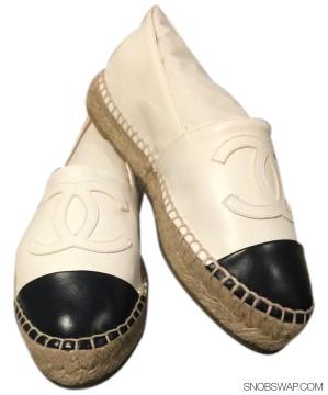 Chanel   CHANEL 15S BNIB WHITE/BLACK CHANEL LEATHER ESPADRILLES FLATS CAP CC SHOE SZ 35